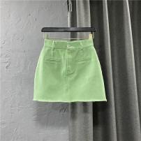skirt Summer 2021 S,M,L,XL green Short skirt commute High waist Denim skirt Solid color Type A 25-29 years old 91% (inclusive) - 95% (inclusive) Denim cotton Pocket, button, zipper Korean version