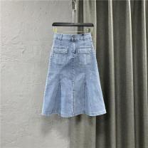 skirt Summer 2021 S,M,L,XL blue Mid length dress commute High waist A-line skirt Solid color Type A 25-29 years old More than 95% Denim cotton Pocket, button, zipper Korean version