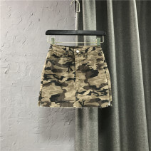 skirt Spring 2021 S,M,L,XL Camouflage Short skirt commute High waist Denim skirt other Type A 25-29 years old More than 95% Denim cotton Pocket, button, zipper Korean version