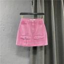 skirt Summer 2021 S,M,L,XL Pink Short skirt commute High waist Denim skirt Solid color Type A 25-29 years old 91% (inclusive) - 95% (inclusive) other cotton Pocket, button, zipper Korean version
