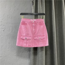 skirt Summer 2021 S,M,L,XL Pink Short skirt commute High waist Denim skirt Solid color Type A 25-29 years old 91% (inclusive) - 95% (inclusive) other cotton Pocket, button, zipper Korean version