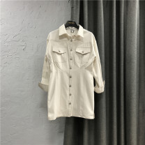 Dress Spring 2021 Picture color S,M,L,XL Short skirt singleton  Long sleeves commute Polo collar High waist Solid color Single breasted A-line skirt raglan sleeve Others 25-29 years old Type H Korean version Pocket, button More than 95% Denim cotton