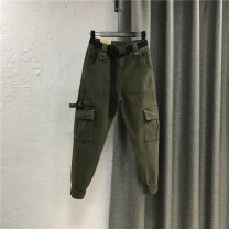 Jeans Spring 2021 Army Green / belt, light apricot / belt, dark camel / belt, black / belt 26,27,28,29,30,31 trousers Natural waist Overalls routine 25-29 years old Zipper, button, multiple pockets, others Cotton elastic denim Dark color 96% and above