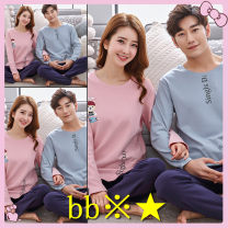 Pajamas / housewear set lovers Other / other cotton Long sleeves Sweet spring routine Cartoon animation trousers youth 2 pieces Knitted cotton fabric printing