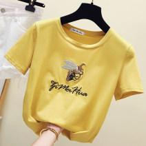 T-shirt S,M,L,XL,2XL Summer 2020 Short sleeve Crew neck easy Regular routine commute cotton 86% (inclusive) -95% (inclusive) 18-24 years old Korean version literature Splicing Splicing