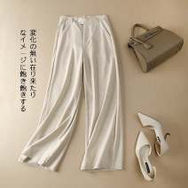 Casual pants Apricot, orange, white, purple, yellow, black, 9.9 is a random small gift, just send it M,L,XL,2XL,3XL Summer 2020 trousers Wide leg pants High waist commute routine 18-24 years old Korean version