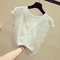 Lace / Chiffon Summer 2021 White, black, one jacket or pants S. M, l, XL, 2XL, 500 PCs Sleeveless commute Socket singleton  easy Regular Crew neck Solid color Flying sleeve 18-24 years old Hollowing out Korean version 31% (inclusive) - 50% (inclusive)