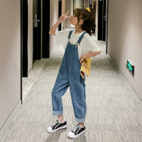 trousers Other / other female 110cm,120cm,130cm,140cm,150cm,160cm,170cm Blue Suspenders spring and autumn trousers Korean version There are models in the real shooting rompers Button middle-waisted cotton Don't open the crotch Cotton 56% others 44% Class B Chinese Mainland