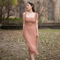 Dress Spring 2021 Lotus root Pink XS,S,M Mid length dress Sleeveless Sweet square neck Solid color other Breast wrapping Type H More than 95% other other