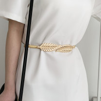 Belt / belt / chain Metal Gold leaf, silver leaf female Waist chain Sweet Single loop Youth, youth, middle age a hook other Glossy surface 1cm alloy Naked, sequins, chains