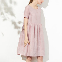 Dress Summer 2020 White, pink, navy M, L Mid length dress singleton  Short sleeve commute Crew neck Loose waist Solid color Socket A-line skirt routine 30-34 years old Simplicity Embroidery, pleating More than 95% hemp