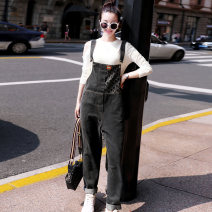 Jeans Autumn of 2019 black M,L,XL trousers Natural waist rompers routine 25-29 years old Patch, Multi Pocket Cotton denim 91% (inclusive) - 95% (inclusive)