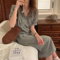 Dress Summer 2021 Purple, green Average size Mid length dress singleton  Short sleeve V-neck Decor routine Chiffon