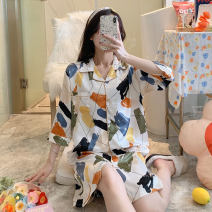 Nightdress Other / other JEM-678# M,L,XL,XXL luxurious three quarter sleeve pajamas Middle-skirt summer Cartoon animation youth Small lapel Polyester (polyester) printing More than 95% Iced silk 200g and below