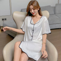 Nightdress Other / other Q3107 # white M,L,XL,XXL Simplicity Short sleeve pajamas Short skirt summer Solid color youth V-neck Polyester (polyester) More than 95% Iced silk 200g and below