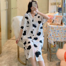 Nightdress The beauty of China is delicate and beautiful HZM - 002 # 160(M),165(L),170(XL),175(XXL) Sweet Short sleeve pajamas Middle-skirt summer Cartoon animation youth Small lapel cotton printing More than 95% Knitted cotton fabric 002# 200g and below