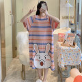 Nightdress The beauty of China is delicate and beautiful HZM-027# 160(M),165(L),170(XL),175(XXL) Sweet Short sleeve pajamas Middle-skirt summer Cartoon animation youth Crew neck cotton printing More than 95% pure cotton 027# 200g and below