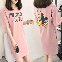 Nightdress Other / other Cartoon Short sleeve pajamas Middle-skirt summer Cartoon animation youth Crew neck cotton printing More than 95% pure cotton 200g and below