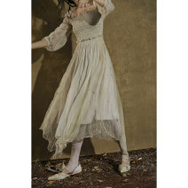 Dress Summer 2020 Apricot printing S,M,L Mid length dress singleton  Short sleeve commute stand collar Socket Irregular skirt Princess sleeve Type X Murmur Mi Retro 200713MQ157 More than 95% silk