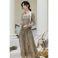 Dress Winter 2020 Dark brown S,M,L longuette singleton  Long sleeves commute square neck low-waisted Solid color Socket Pleated skirt routine Type A Murmur Mi Retro fold 201013MQ180 31% (inclusive) - 50% (inclusive) polyester fiber