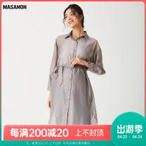 Dress MASANON Light gray, khaki green M, L Versatile Long sleeves Medium length spring Lapel Solid color polyester Z3017