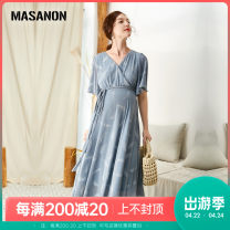 Dress MASANON Haze blue S,M,L,XL Europe and America elbow sleeve have more cash than can be accounted for summer V-neck Abstract pattern polyester MS1989