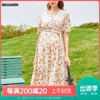 Dress MASANON Apricot color M,L,XL,XXL Europe and America Short sleeve Medium length summer Crew neck Decor polyester