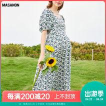 Dress MASANON Decor M,L,XL Europe and America Short sleeve Medium length summer Crew neck Decor polyester