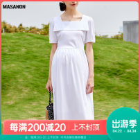 Dress MASANON white M,L,XL Europe and America Short sleeve Medium length summer square neck Solid color