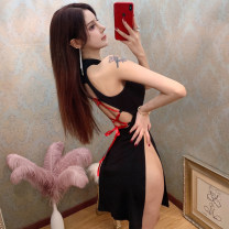 Dress Winter 2020 black S,M,L Short skirt commute 18-24 years old Korean version