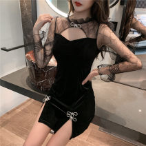 Dress Autumn 2020 black S,M,L Short skirt singleton  Long sleeves commute Others 18-24 years old Korean version