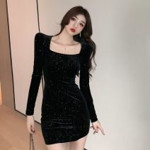 Dress Winter 2020 black S,M,L Short skirt singleton  Long sleeves commute square neck High waist Solid color zipper One pace skirt routine Others 18-24 years old Type H Other / other Korean version Splicing 51% (inclusive) - 70% (inclusive) brocade polyester fiber