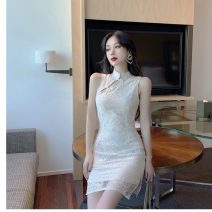 Dress Summer 2020 Apricot, black S,M,L Short skirt singleton  Sleeveless commute stand collar middle-waisted other Others Type H Other / other ethnic style Lace