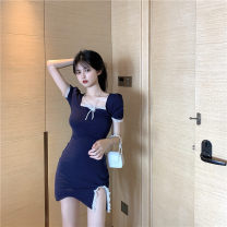 Dress Summer 2020 Red, Navy Average size Short skirt singleton  Short sleeve square neck One pace skirt Princess sleeve 18-24 years old Type X cotton