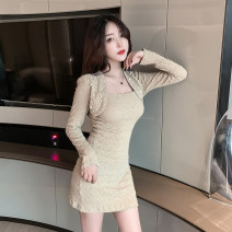 Dress Winter 2020 Khaki, black S,M,L,XL singleton  Long sleeves commute square neck 18-24 years old