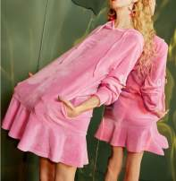 Dress Spring 2020 Pink small flaws loose S,M,L,XL Middle-skirt singleton  Long sleeves Sweet Hood middle-waisted letter Socket Princess Dress routine Others 25-29 years old Type A More than 95% other Ruili