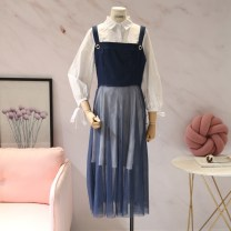 Dress Spring of 2018 White + blue S,M,L Mid length dress Two piece set commute Polo collar High waist Others 18-24 years old Korean version More than 95% other