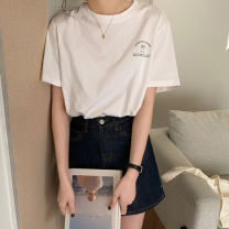 T-shirt Sapphire blue, white, flower grey Average size Summer 2021 Short sleeve Crew neck easy Regular commute cotton 96% and above 18-24 years old Korean version Letters, solid color