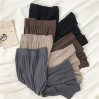 skirt Autumn 2020 Average size Apricot, grey, black, brown Mid length dress commute High waist skirt Solid color Type H 18-24 years old More than 95% Split Korean version