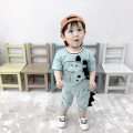 suit Qiaobeihu Green, Khaki 73cm,80cm,90cm,100cm,110cm neutral summer leisure time Short sleeve + pants 2 pieces Thin money There are models in the real shooting Socket nothing Cartoon animation cotton children Expression of love Class A Cotton 95% polyurethane elastic fiber (spandex) 5%