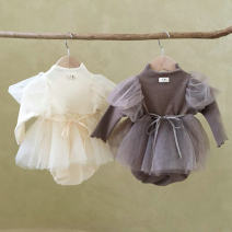 Dress Beige dress (hair belt), purple dress (hair belt) female Other / other 66cm,73cm,80cm,90cm Cotton 95% other 5% spring and autumn Korean version Long sleeves Solid color cotton other Class A 3 months, 12 months, 6 months, 9 months, 18 months, 2 years old