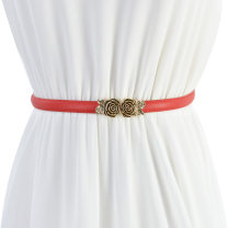 Belt / belt / chain Double skin leather female Waist chain Versatile Single loop a hook Flower design Frosting 1.5cm alloy Cold weapon Spring of 2019