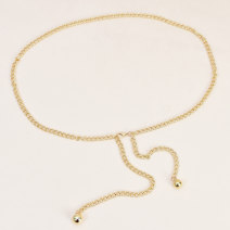 Belt / belt / chain Metal Silver Gold female Waist chain Versatile Single loop Children, youth, middle age and old age Geometric pattern Frosting 0.6cm alloy chain Cold weapon LBQ0248 Spring 2020