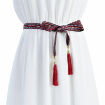 Belt / belt / chain other Blue tassel red tassel black tassel female belt ethnic style Single loop Children: 1-6 years old, young, middle-aged and old bow soft surface 1.8cm alloy Braided fringe bow Cold weapon LBQ0147 Spring of 2019 no
