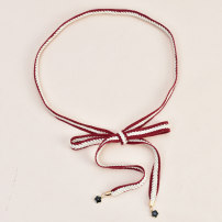 Belt / belt / chain other Red white black Khaki liquor female belt Versatile Single loop Children: 1-6 years old, young, middle-aged and old bow soft surface 1.5cm Knitting bows Cold weapon LBQ0242 Spring 2020