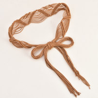Belt / belt / chain Wax rope Brown beibai black female belt ethnic style Single loop Children, youth, middle age and old age bow soft surface 5.0cm Knitting thick thread to decorate bow Cold weapon LBQ0262 Spring 2020
