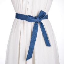 Belt / belt / chain cloth Dark blue light blue wash blue black (cotton)) SG make old blue white female belt cowboy Single loop Middle aged youth bow Frosting 3cm Bows Cold weapon LBQ18146 Spring / summer 2018
