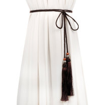 Belt / belt / chain cloth female belt literature Double loop Children, youth, middle age and old age bow soft surface 1cm Tassel beads Cold weapon Autumn and winter 2017 no