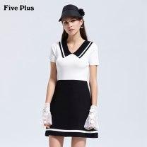 Dress Summer of 2019 S,M,L,XL Short skirt singleton  Short sleeve commute High waist Socket A-line skirt routine 25-29 years old Type X Five Plus Splicing