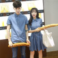 Dress Summer 2021 Denim blue Mid length dress singleton  Short sleeve commute square neck High waist Solid color Single breasted routine Type A Icadisha Korean version More than 95% knitting cotton